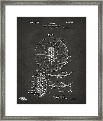 1928 Soccer Ball Lacing Patent Artwork - Gray Framed Print by Nikki Marie Smith