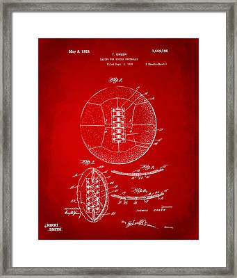 1928 Soccer Ball Lacing Patent Artwork - Red Framed Print by Nikki Marie Smith