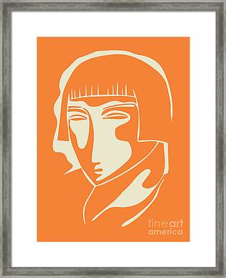 1928 Woman Face   Orange Framed Print