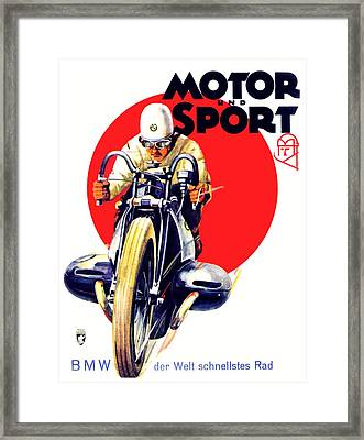1929 - Bmw Motorcycle Poster - Color Framed Print