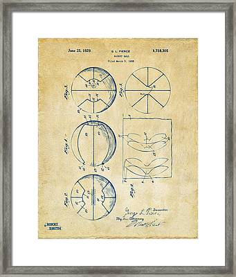 1929 Basketball Patent Artwork - Vintage Framed Print by Nikki Marie Smith
