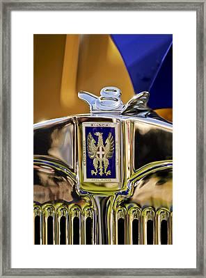 1929 Bianchi S8 Graber Cabriolet Hood Ornament And Emblem Framed Print