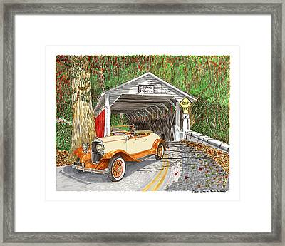 1929 Chrysler 65 Covered Bridge Framed Print by Jack Pumphrey