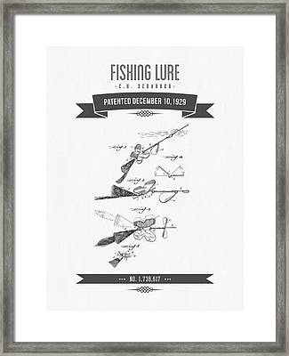 1929 Fishing Lure Patent Drawing Framed Print by Aged Pixel