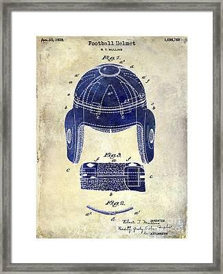 1929 Football Helmet Patent Drawing 2 Tone Framed Print