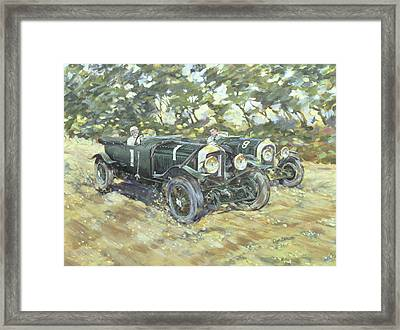 1929 Le Mans Winning Bentleys Framed Print by Clive Metcalfe