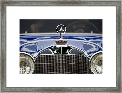 1929 Mercedes Benz S Erdmann And Rossi Cabiolet Hood Ornament Framed Print by Jill Reger