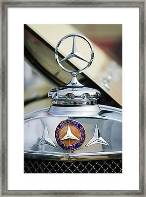 1929 Mercedes-benz Ss Barker Roadster Hood Ornament - Emblem Framed Print by Jill Reger