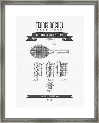 1929 Tennis Racket Patent Drawing - Retro Gray Framed Print by Aged Pixel