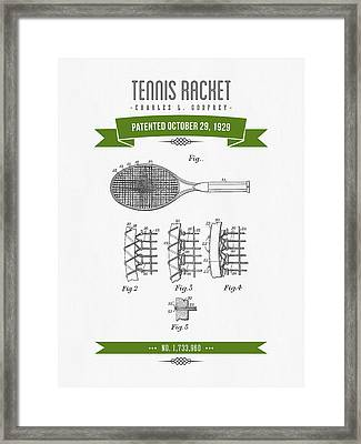 1929 Tennis Racket Patent Drawing - Retro Green Framed Print by Aged Pixel