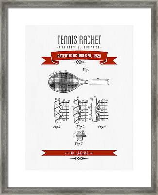 1929 Tennis Racket Patent Drawing - Retro Red Framed Print by Aged Pixel