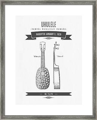 1929 Ukulele Patent Drawing Framed Print by Aged Pixel