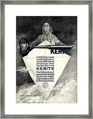 1930 - Kerite Insulated Wire And Cable Company Advertisement - Benjamin Franklin Framed Print