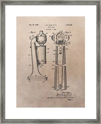 1930 Drink Mixer Patent Framed Print by Dan Sproul