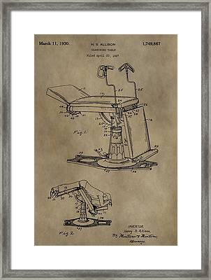1930 Examining Table Patent Framed Print