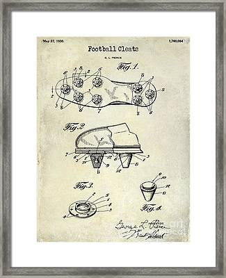 1930 Football Cleats Patent Drawing Framed Print