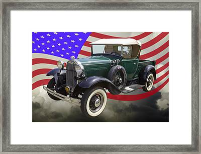 1930 Ford Model A Pickup Truck And Us Flag Framed Print by Keith Webber Jr
