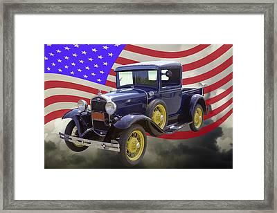 1930 Model A Ford Pickup Truck And American Flag Framed Print by Keith Webber Jr