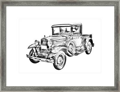 1930 Model A Ford Pickup Truck IIlustration Framed Print by Keith Webber Jr