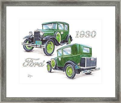 1930 Model A Ford Sedan Framed Print by Shannon Watts