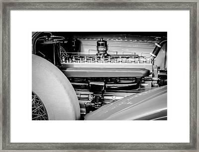 1930 Packard Speedster Runabout Engine -0539bw Framed Print