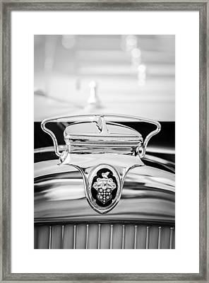 1930 Packard Speedster Runabout Hood Emblem -2520bw Framed Print