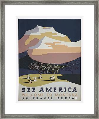 Framed Print featuring the painting 1930 See America by American Classic Art