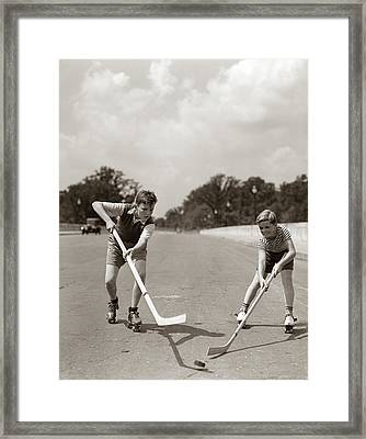 1930s 1940s 2 Boys With Sticks And Puck Framed Print