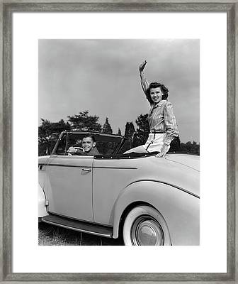 1930s 1940s Couple In Convertible Car Framed Print