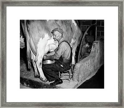 1930s 1940s Elderly Farmer In Overalls Framed Print