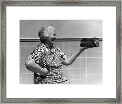 1930s 1940s Grandmother In Apron Framed Print