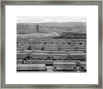 1930s 1940s Railroad Yard With Engine Framed Print