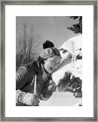 1930s 1940s Smiling Silly Woman Licking Framed Print