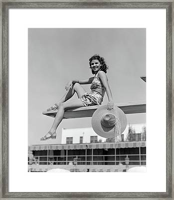 1930s 1940s Smiling Woman Wearing Two Framed Print