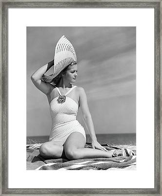 1930s 1940s Woman In White Bathing Suit Framed Print