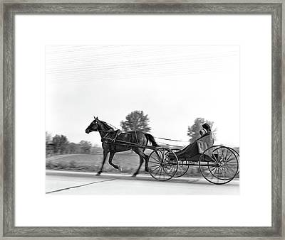 1930s Amish Woman And Child Riding Framed Print