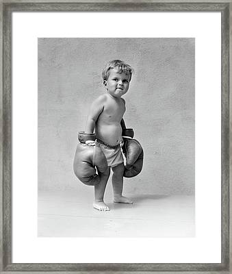 1930s Baby Boy Toddler Wearing Oversize Framed Print