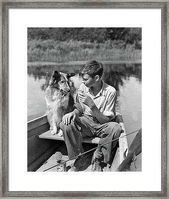 1930s Boy And Collie Dog Together Framed Print