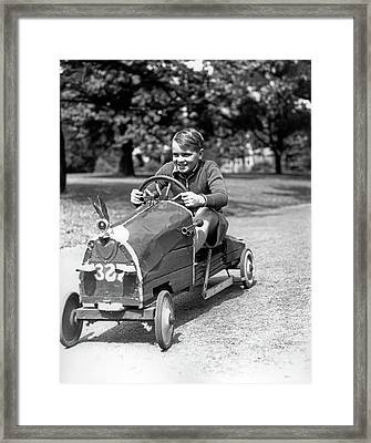1930s Boy Driving Home Built Race Car Framed Print