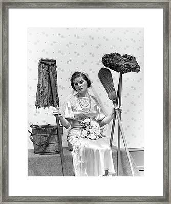 1930s Bride Seated Next To Bucket Framed Print