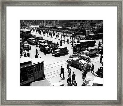 1930s Busy Intersection Fifth Avenue Framed Print