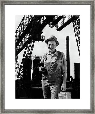 1930s Composite Of Man Worker Framed Print