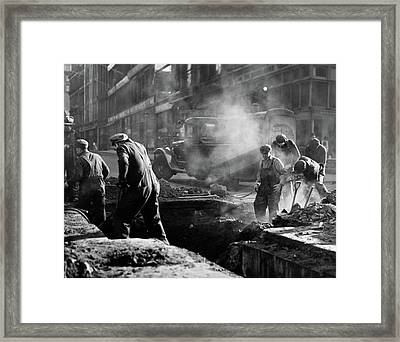 1930s Construction Street Workers Framed Print