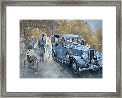 1930s Country Wedding Oil On Canvas Framed Print