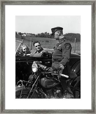 1930s Couple In Convertible Coupe Framed Print