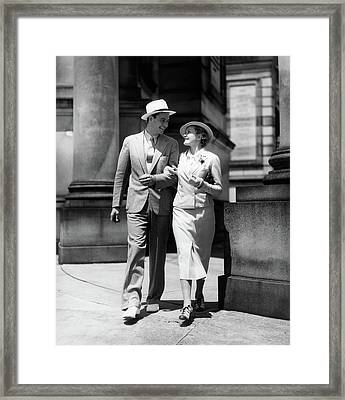 1930s Couple In Suits And Hats Walking Framed Print