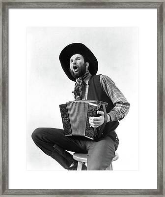 1930s Cowboy Playing Accordion & Singing Framed Print