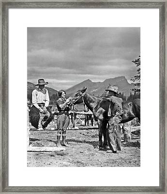 1930s Cowboys & A Woman Grooming Framed Print