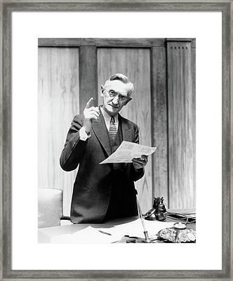 1930s Elderly Man In Office Standing Framed Print