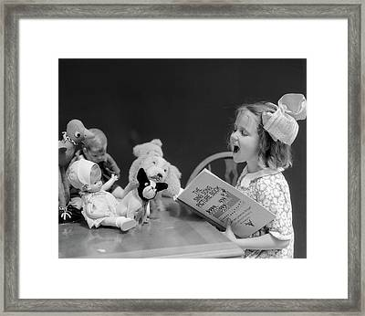 1930s Enthusiastic Little Girl Big Bow Framed Print